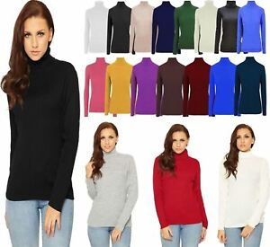 19961390424 Details about Womens Ribbed Polo Neck Jumper Ladies Long Sleeve Warm  Knitted Stretch Top