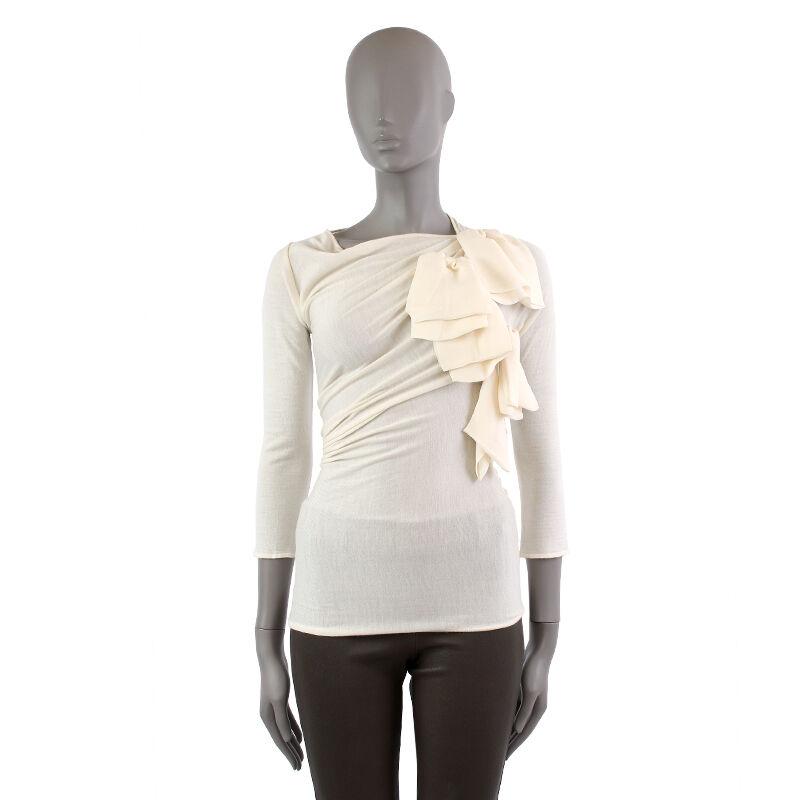 38271 auth GIAMBATTISTA VALLI off-white DRAPPED Long Sleeve Shirt Blouse 40 S