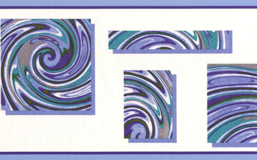 Abstract Purple Blue Turquoise Square Swirls White Wallpaper Border Wallcover