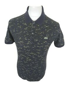 Mens-Lacoste-Camo-Polo-Shirt-Blue-Size-4-Small-Medium-Slim-38-Chest