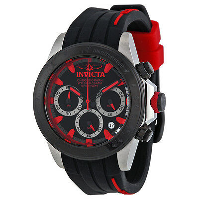 Invicta Speedway Chronograph Black Dial Black Silicone Mens Watch 17190