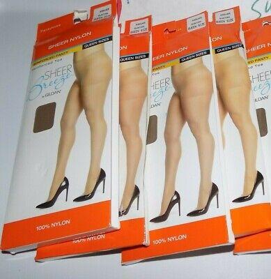Lot Of 3 Ultra Sheer Nylon Pantyhose Sheer Breeze Gildan Queen Plus Mocha Suntan