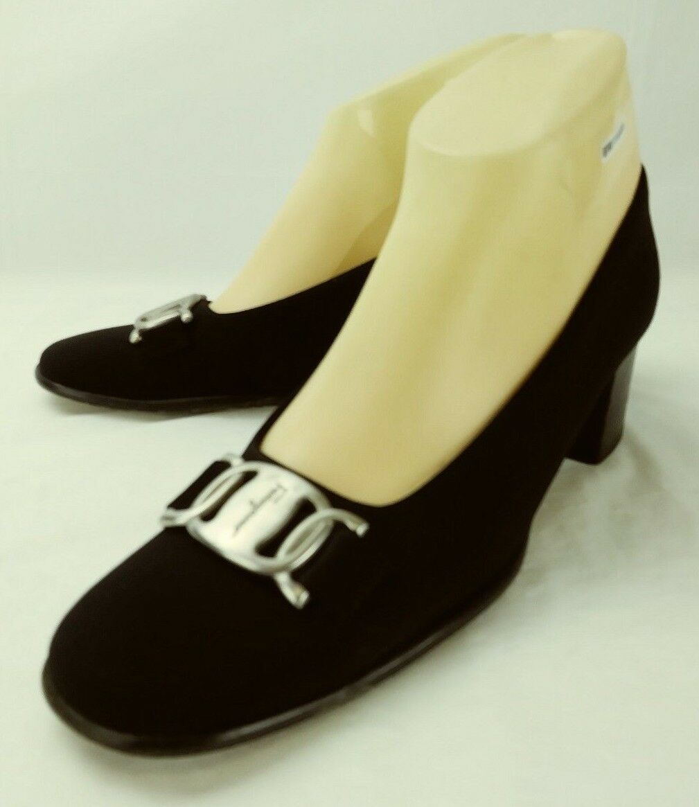 Salvatore Ferragamo Wos shoes Heels US 7.5 AAA Black Fabric Leather Slip-on 1425