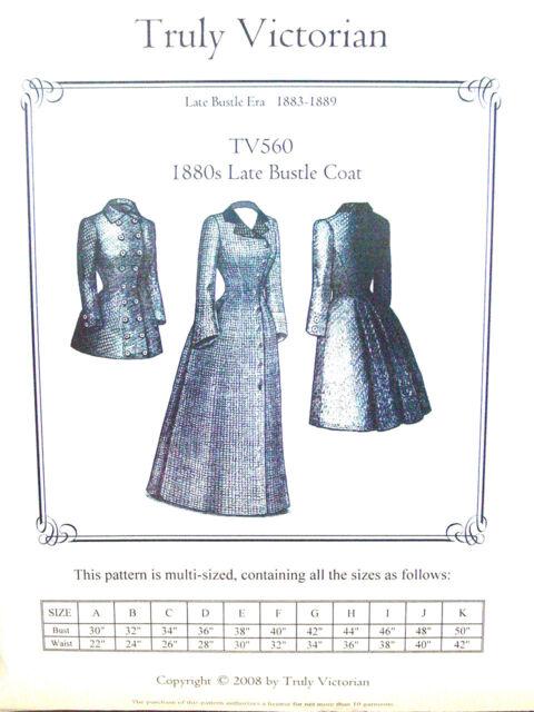 Truly Victorian 1880s Late Bustle Coat Pattern TV560 | eBay