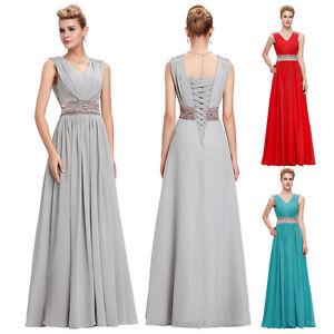 Abschlusskleid-Lang-Abendkleid-Ballkleid-Brautjungfer-Party-Kleid-Gr-32-34-36-38