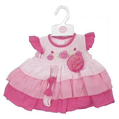 6-23 months Baby Girl Pink Blue Party Dress Set Bow Head Band Knickers//Bloomers