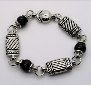 B306-Exquisite-Designer-Silver-Cable-black-pears-fashion-jewelry-Bracelet