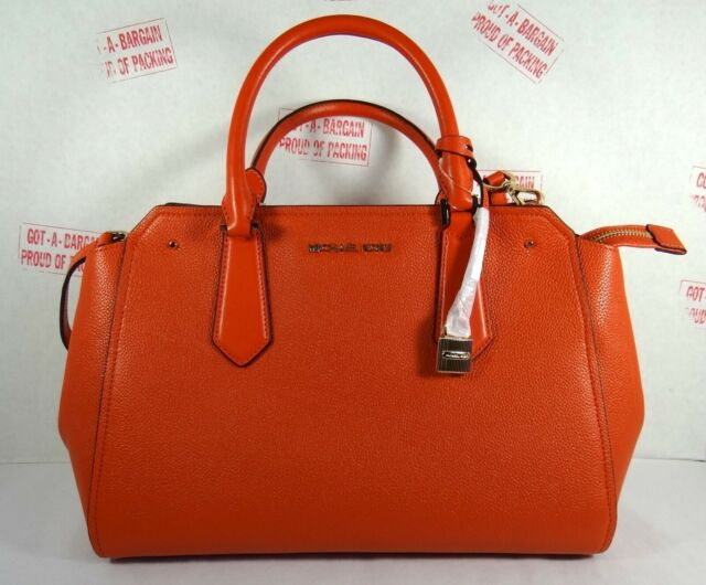 abe0250e0a63 Michael Kors Pebbled Leather Hayes Large Satchel Bag in Persimmon ...