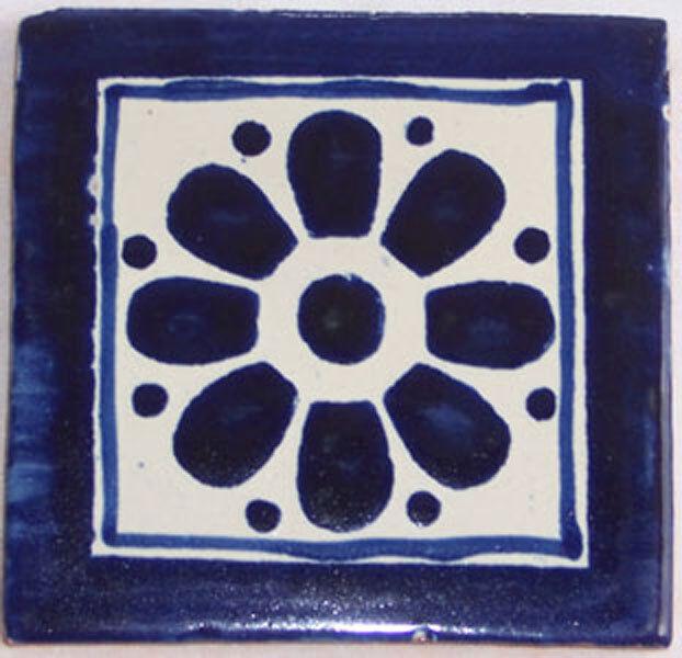 C136- Mexican Handmade Talavera Clay Tile Folk Art 4x4