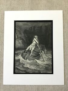 1870 Antique Print Dantes Inferno Stormy Sea Vision of Hell Engraving Victorian