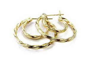 14k-Yellow-Gold-Twisted-Look-Double-Hoop-Ladies-Earrings-1-4g