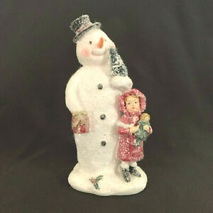 Vintage Style Snowman With Little Girl Tree Glitter