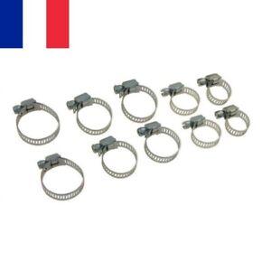 10 X Anneau Collier de Serrage en Métal Ajustable 8 à 27 mm avec Vis