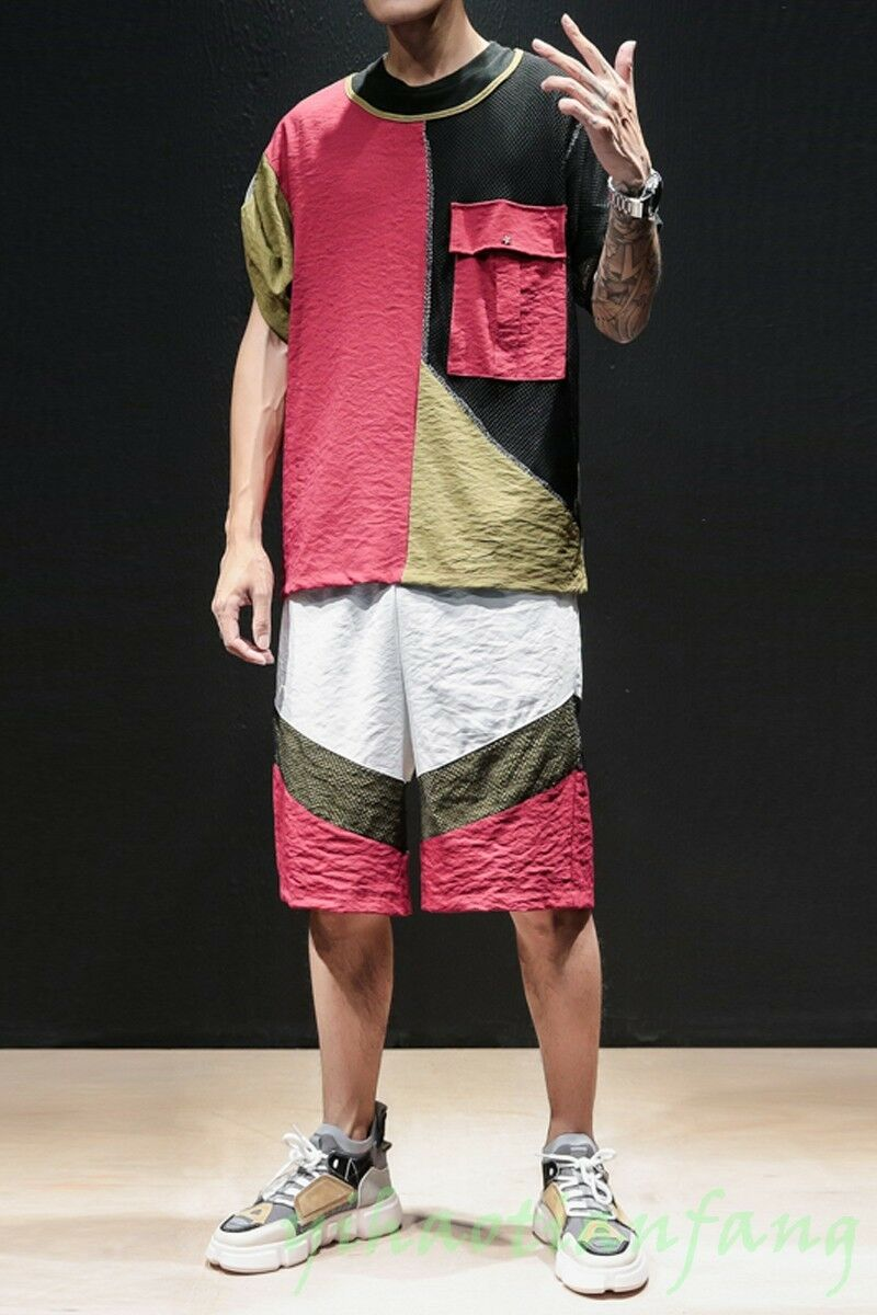 2019 New Fashion Summer Men Breathable Suit T-Shirts Short Loose Hop-Hip Korea S