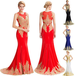 appliques rouge longue robes de demoiselle d 39 honneur bal cocktail soir e mari e ebay. Black Bedroom Furniture Sets. Home Design Ideas