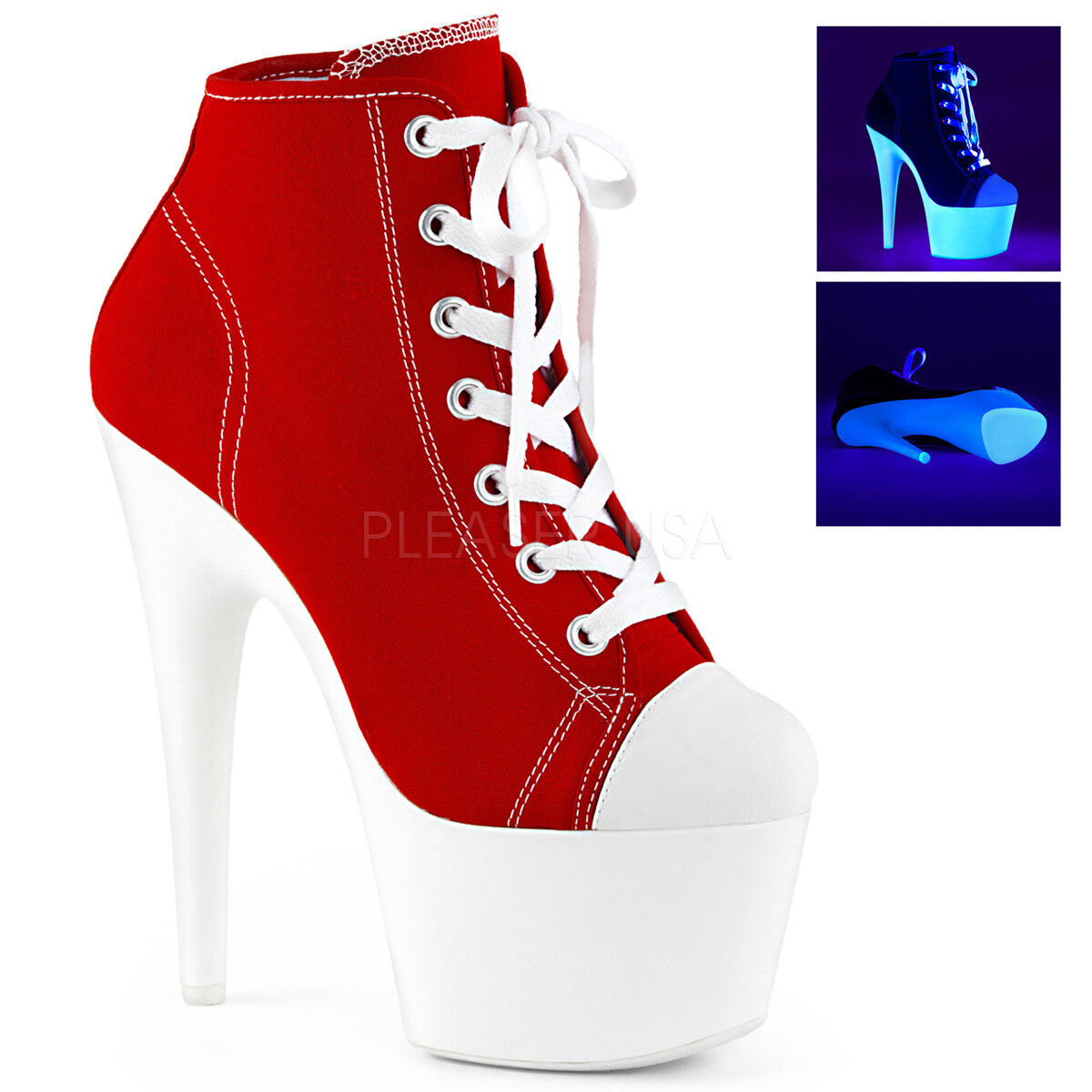 Pleaser ADORE-700SK-2 Exotic Dancing Platform Lace Canvas Up Canvas Lace  7