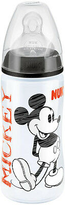 NUK FIRST CHOICE DISNEY 300ML BOTTLE BLACK With Silicone Teat Size 2 Baby BNIP