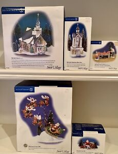 Dept. 56, Snow Village, Lot of 5: Holy Spirit Church & Santa Comes to Town, 2003