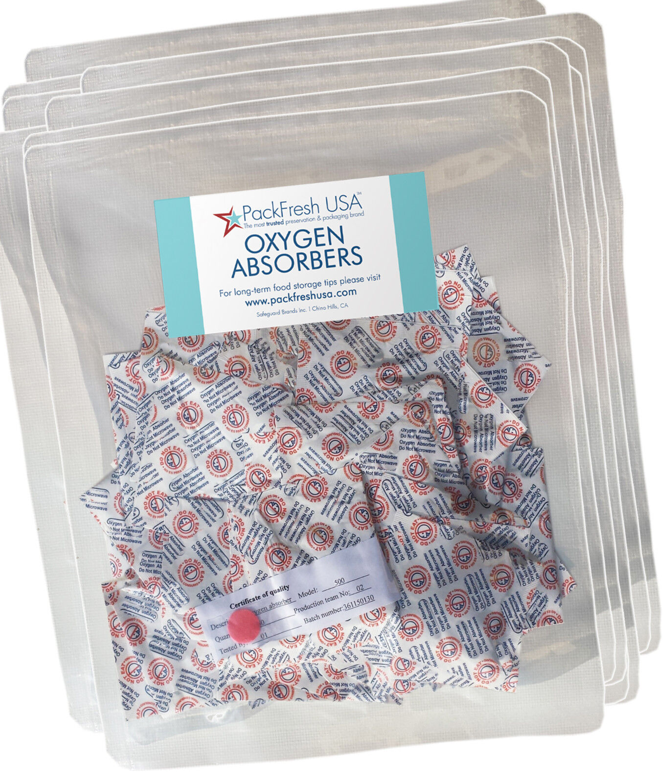 1000 X 500cc packfreshusa absorbentes de oxígeno para almacenamiento de alimentos a largo plazo de Mylar