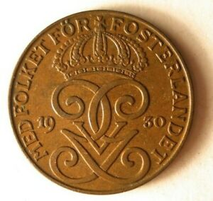 1930-SWEDEN-2-ORE-Excellent-Coin-BARGAIN-BIN-172
