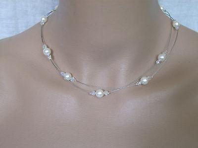 Collier  Blanc//Cristal robe d Mariée//Mariage//Soirée style perle culture pas cher