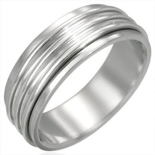 Stainless Steel 8mm Ribbed Spinner Worry Ring Sz 14   b14