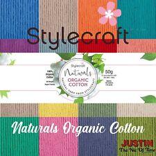 Stylecraft NATURALS ORGANIC COTTON DK -  Double Knitting Crochet Cotton Yarn 50g