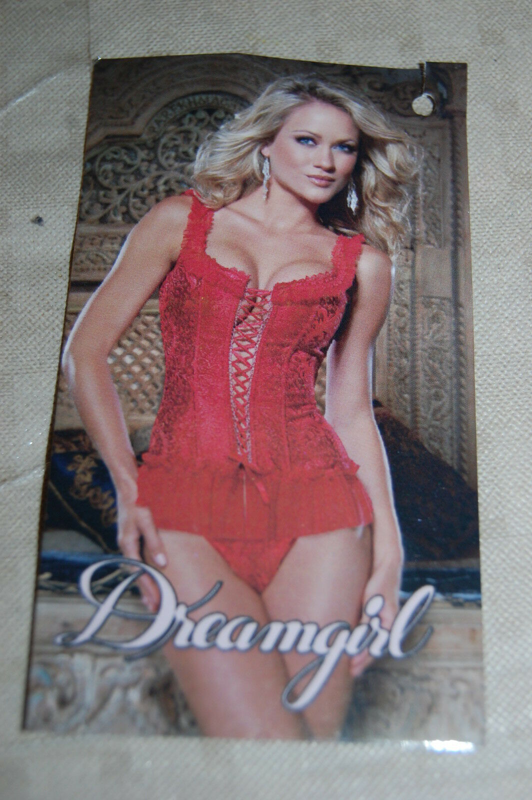 Womens Lingerie RED CORSET & PANTY Embossed & Ruffled HOOK & EYE Lace Up S 4-6