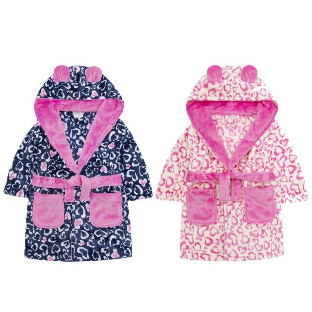 Minikidz Infant Girls Leopard Print Animal Dressing Gown Fleece ...