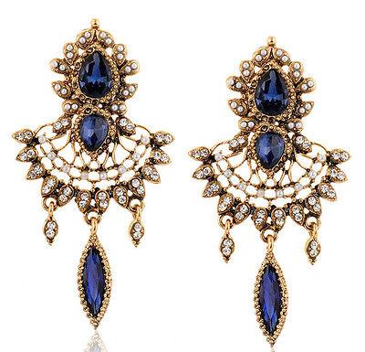 Fashion Luxury Retro Crystal Leaf Drop Flower Tassels Statement Stud Earring