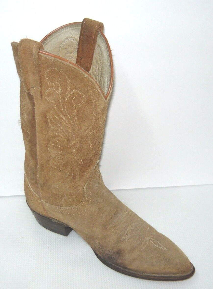 Dan Post Women's Distressed Brown Suede Round Toe Cowgirl Boot Sz 6.5M
