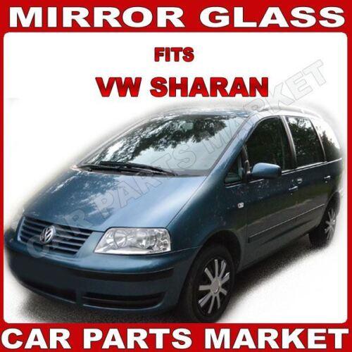 Para VW Sharan 98-03 Izquierda Del Lado Del Pasajero Espejo De Ala Asférica Cristal Con Placa