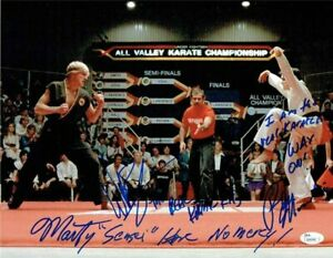 Karate-Kid-Cobra-Kai-Macchio-Zabka-Kove-Autographed-Signed-11x14-Photo-JSA-COA