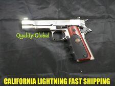 ALL METAL 1911 CHROME ITALY MOVIE PROP Pistol Replica Hand Gun Training COLT 45