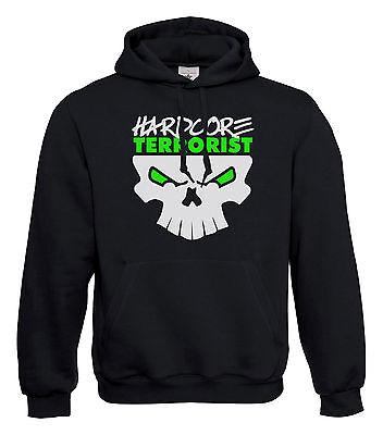 """Hooded Sweatshirt Hardcore Terrorista """"brain"""" Gabber Uptempo Frenchcore Maglione Nuovo-"""