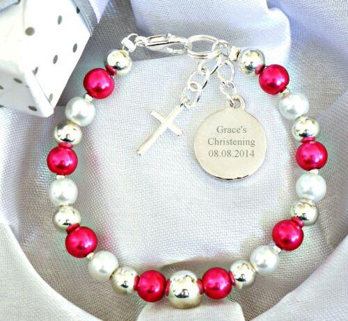 Baby Jungen Mädchen Personalisiert /& Gravierte Armband Taufe Tag Gift Geburtstag