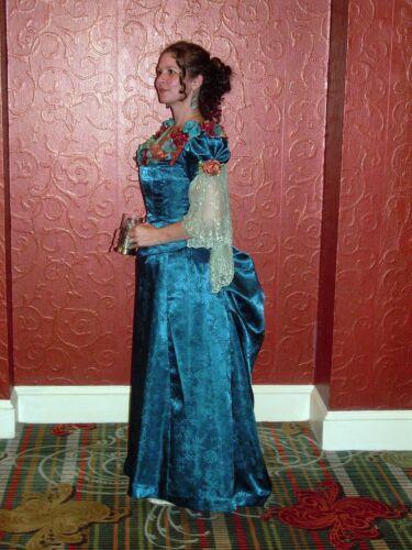 Victorian Gown Handmade Bodice Bustle Skirt Peacoc
