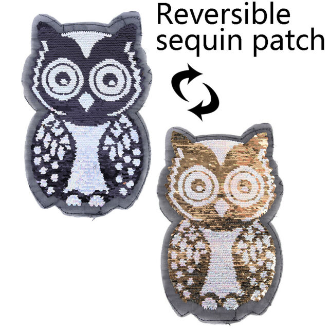 black white owl reversible change color sequins sew on patches DIY appliqGT