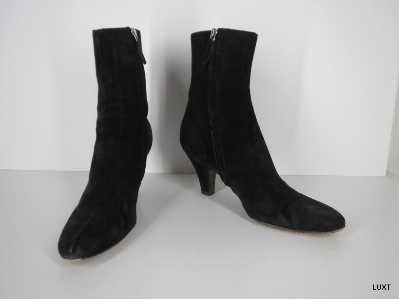 Jil Sander Ankle Boots Booties $750 Size 8 38 Suede Black Silver Stripe Side Zip