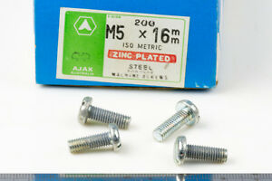 M5-5mm-x-16mm-Slotted-Pan-Head-Zinc-Plated-Steel-Screws-Bolts-10-pieces