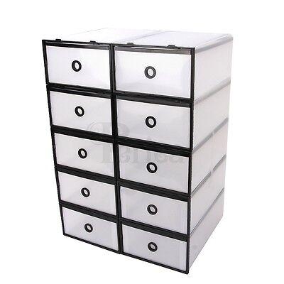 Periea Strong Plastic Box, Shoe Storage, Organiser, Drawers x10, Interlocking