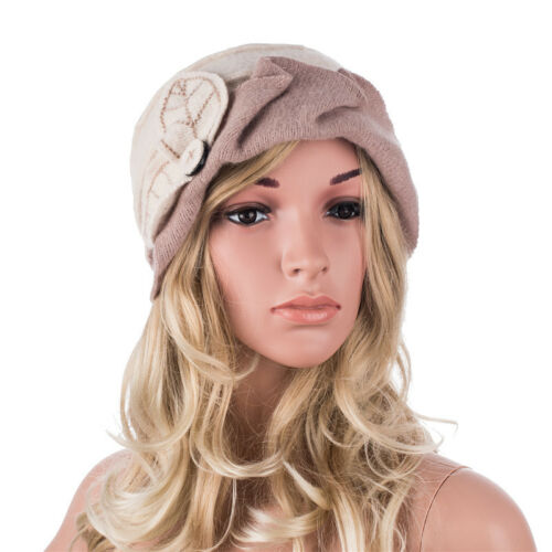 Two-Tone Womens Ladies Winter 1920s 100/% Wool Leaf Bucket Beret Cap Hat A375