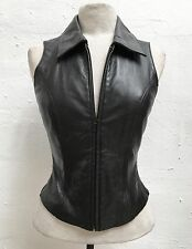 WILSONS Supple BIKER Babe BLACK LEATHER Fitted GOTHIC Zip HOURGLASS Vest TOP XS