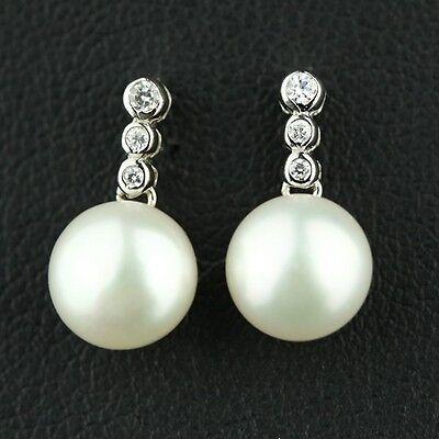 Boucles d`Oreilles Grosse Nacre Perle Culture Plate Blanc Argent Massif 925 10mm