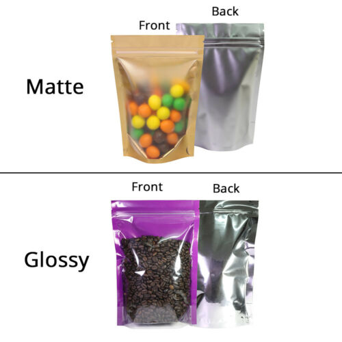 Glossy /& Matte Clear Front Colored Inner Silver Back Foil Stand up ZipLock Bag M