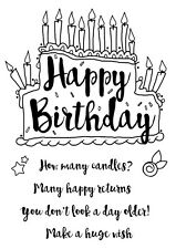 Woodware Clear Singles Rubber Stamp - Birthday Cake FRS628