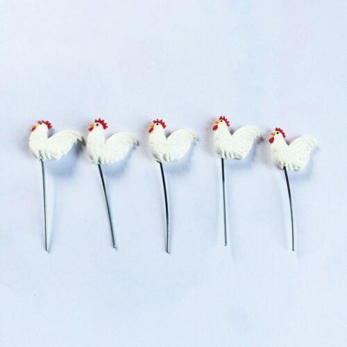 5 Chicken Rooster White Animals Miniature Dollhouse Fairy Garden Accessories 002
