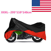 Xxxl Motorcycle Cover Black/red Outdoor Weatherproof Motor Bike Touring Cruiser