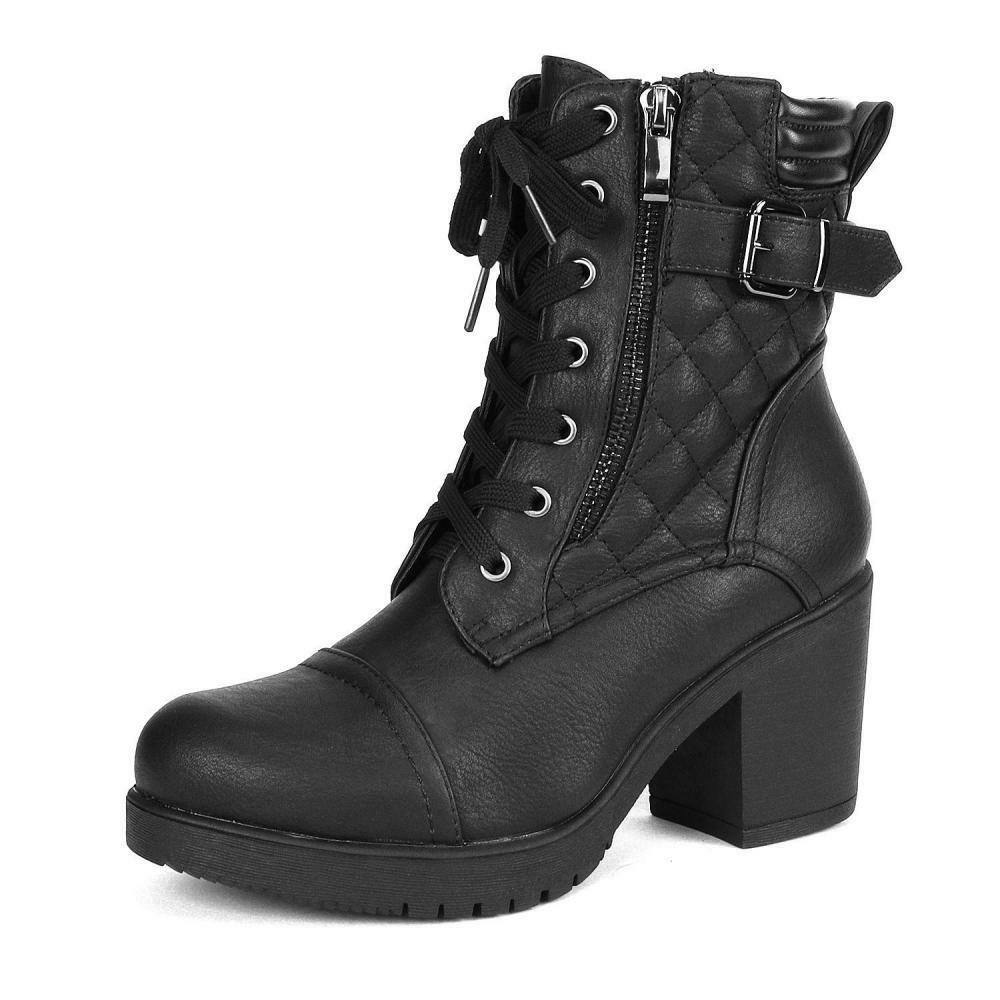 DREAM PAIRS Women's Fashion Chunky High Heel Combat Ankle Boots