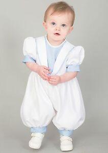 Baby Babies Boys Romper Suit Hat Waistcoat Cream White Blue Christening Wedding